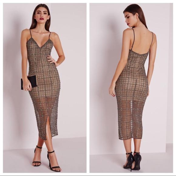 ebcaec5d69b NWT Missguided Sequin Embellished Grey Midi Dress!